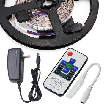 HML 2pcs 5M 24W RGB 2835 SMD 300 LED Strip Light with 10 Keys RF  Remote Control+ DC Adapter(US Plug) - RGB
