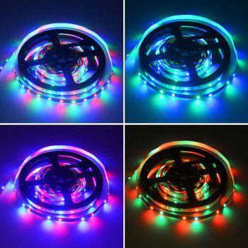 HML 2pcs 5M 24W RGB 2835 300 LED Strip Light - RGB with IR 20 Keys Music Remote Control and US Adapter - RGB