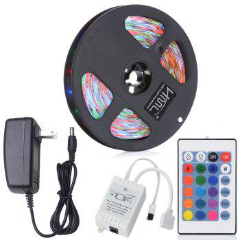 HML 5M Water-proof 24W RGB 2835 SMD 300 LEDs Strip Light with 24 Keys Remote Control and US Adapter - RGB RGB