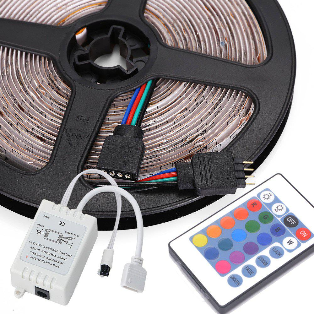 HML 5M Water-proof 24W RGB 2835 SMD 300 LEDs Strip Light with 24 Keys Remote Control and US Adapter - RGB