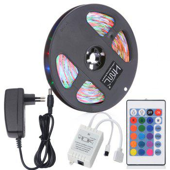 HML 5M Water-proof 24W RGB 2835 SMD 300 LEDs Strip Light with 24 Keys Remote Control and EU Adapter - RGB RGB