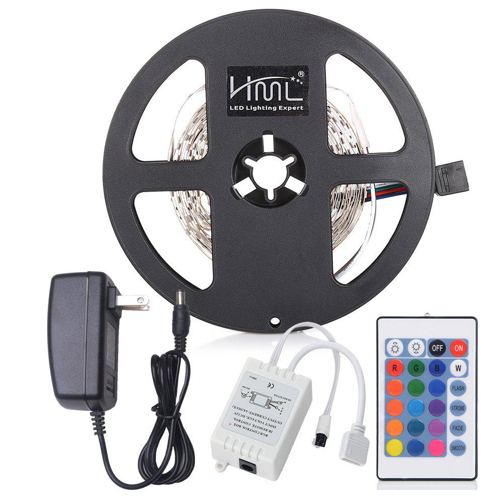 HML 5M 24W RGB 2835 SMD 300 LED Strip Light with IR 24 Keys Remote Control+ US Adapter - RGB