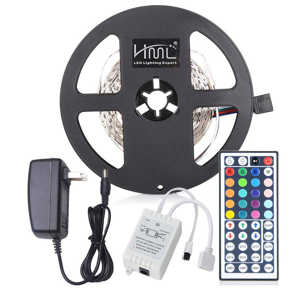 HML LED Strip Light 5M 24W RGB SMD2835 300 LEDs - RGB COLOR with IR 44 Keys Remote Control and US  Adapter - RGB