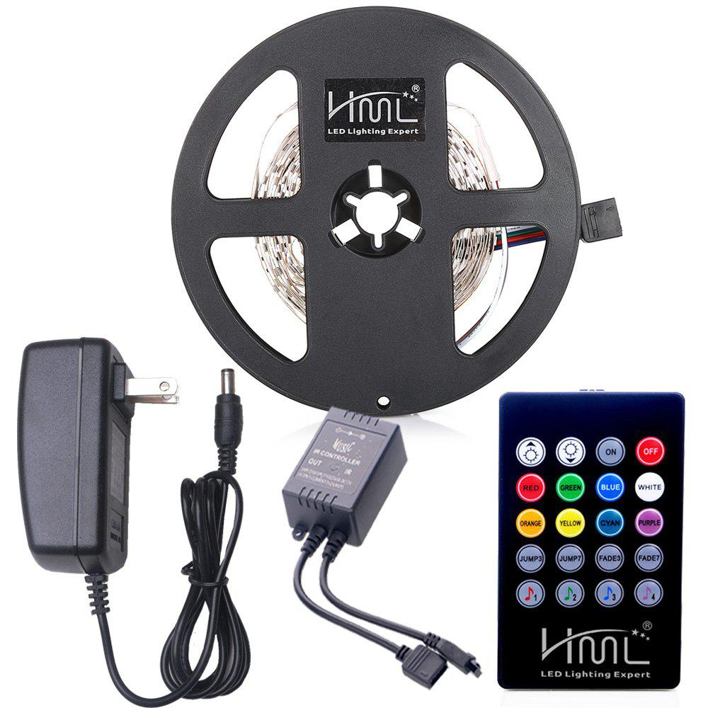 HML LED Strip Light 5M 24W RGB SMD2835 300 LEDs - with IR 20 Keys Music Remote Control and US Adapter - RGB