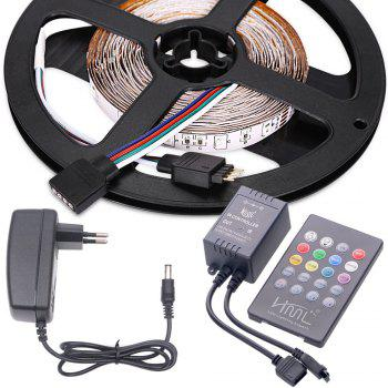 HML LED Strip Light 5M 24W RGB SMD2835 300 LEDs - with IR 20 Keys Music Remote Control and EU Adapter - RGB