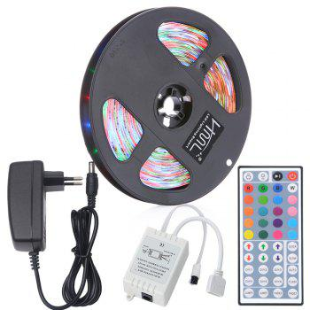 HML 5M Waterproof 24W RGB 2835 SMD 300 LED Strip Light with IR 44 Keys Remote Control+ EU Adapter - RGB RGB