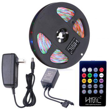 HML Waterproof LED Strip Light 5M 24W RGB SMD2835 300 LEDs -with IR 20 Keys Music Remote Control and US Adapt - RGB RGB