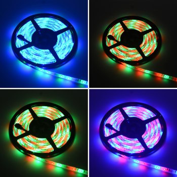 HML Waterproof LED Strip Light 5M 24W RGB SMD2835 300 LEDs -with IR 20 Keys Music Remote Control and US Adapt - RGB
