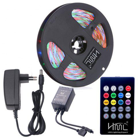HML Waterproof LED Strip Light 5M 24W RGB SMD2835 300 LEDs - with IR 20 Keys Music Remote Control and EU Ad - RGB