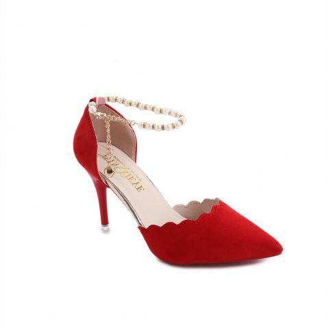 High-Heeled Shoes Female 2017 New Beaded Pointed Shoes - RED 34