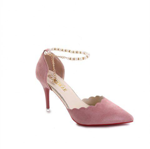 High-Heeled Shoes Female 2017 New Beaded Pointed Shoes - PINK 34