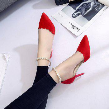 High-Heeled Shoes Female 2017 New Beaded Pointed Shoes - RED RED