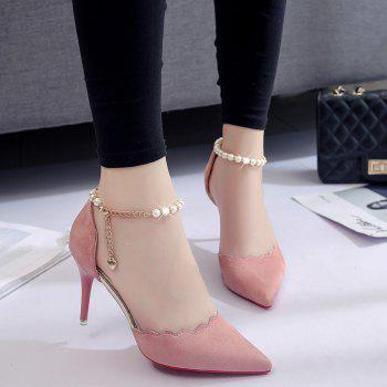 High-Heeled Shoes Female 2017 New Beaded Pointed Shoes - PINK 39
