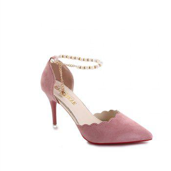 High-Heeled Shoes Female 2017 New Beaded Pointed Shoes - PINK PINK