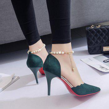 High-Heeled Shoes Female 2017 New Beaded Pointed Shoes - ARMYGREEN 37