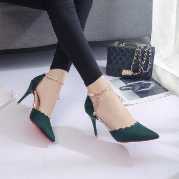 High-Heeled Shoes Female 2017 New Beaded Pointed Shoes - ARMYGREEN 38