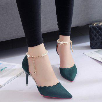 High-Heeled Shoes Female 2017 New Beaded Pointed Shoes - ARMYGREEN 35