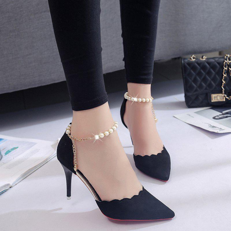 High-Heeled Shoes Female 2017 New Beaded Pointed Shoes - BLACK 34
