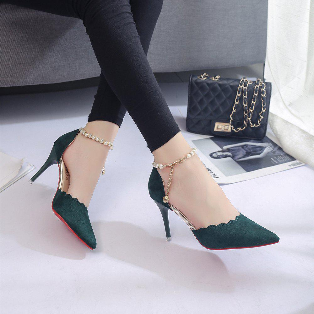 High-Heeled Shoes Female 2017 New Beaded Pointed Shoes - ARMYGREEN 39