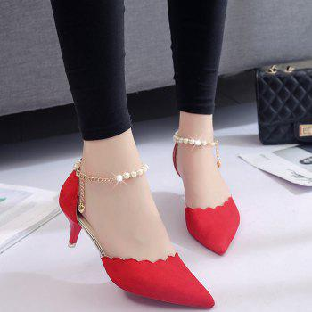2017 New High Heel Beaded Single Shoes Women - RED 38