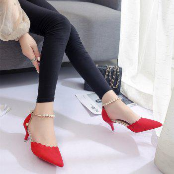2017 New High Heel Beaded Single Shoes Women - RED 35
