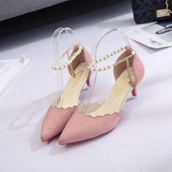 2017 New High Heel Beaded Single Shoes Women - PINK 36