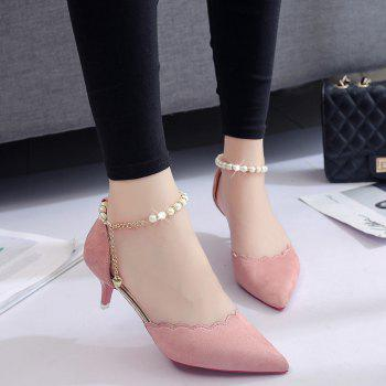 2017 New High Heel Beaded Single Shoes Women - PINK PINK