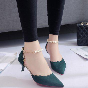 2017 New High Heel Beaded Single Shoes Women - ARMYGREEN ARMYGREEN