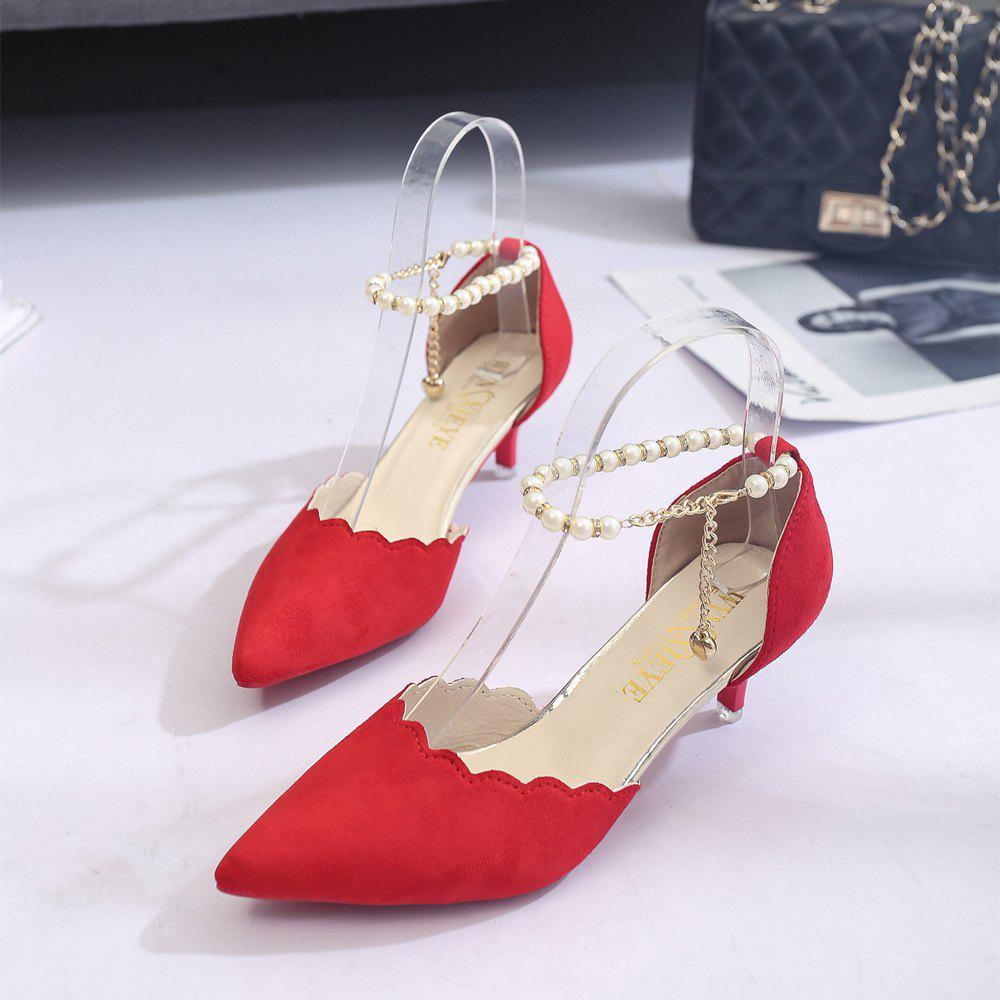 2017 New High Heel Beaded Single Shoes Women - RED 34