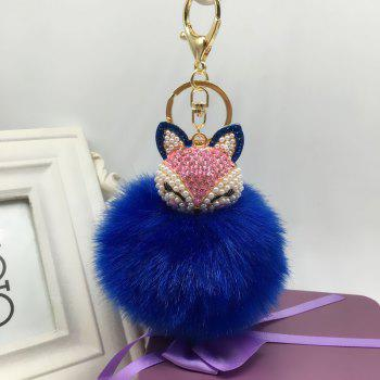 The Fox Head Ornament Pendant Accessories Super Rabbit Hair Ball Plush Set Auger Diamond Mobile Phone - ROYAL ROYAL