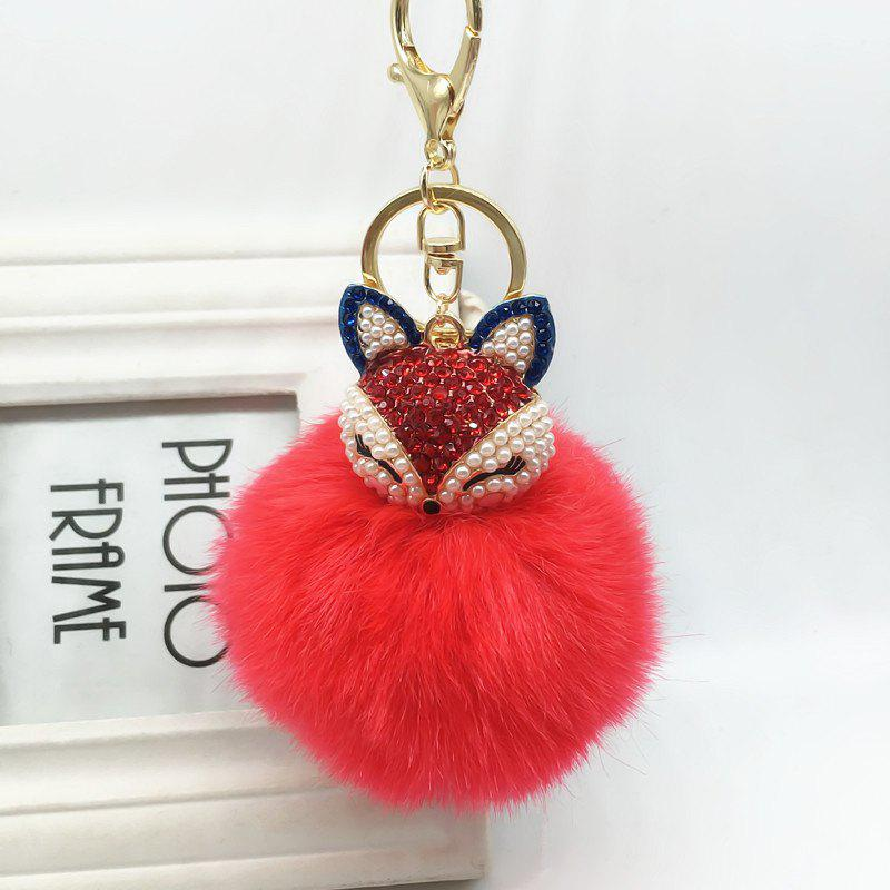 The Fox Head Ornament Pendant Accessories Super Rabbit Hair Ball Plush Set Auger Diamond Mobile Phone - RED