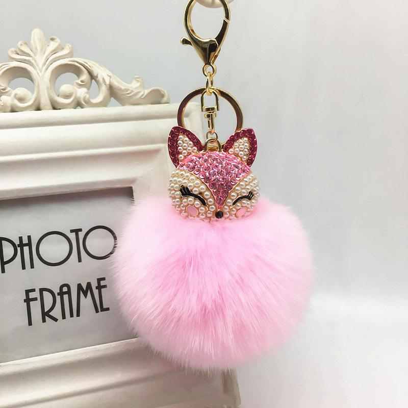 The Fox Head Ornament Pendant Accessories Super Rabbit Hair Ball Plush Set Auger Diamond Mobile Phone - PINK