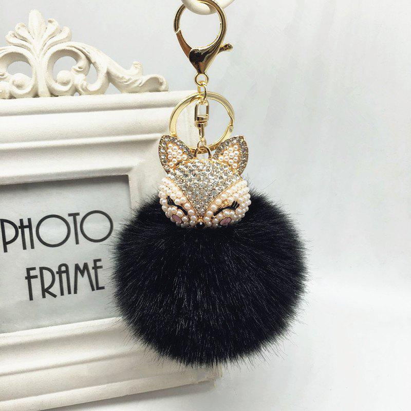 The Fox Head Ornament Pendant Accessories Super Rabbit Hair Ball Plush Set Auger Diamond Mobile Phone - BLACK