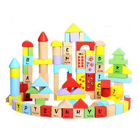 Creative Type 100 - barrel  Beech Wooden Block Children Puzzle Toy English Letter - COLORMIX