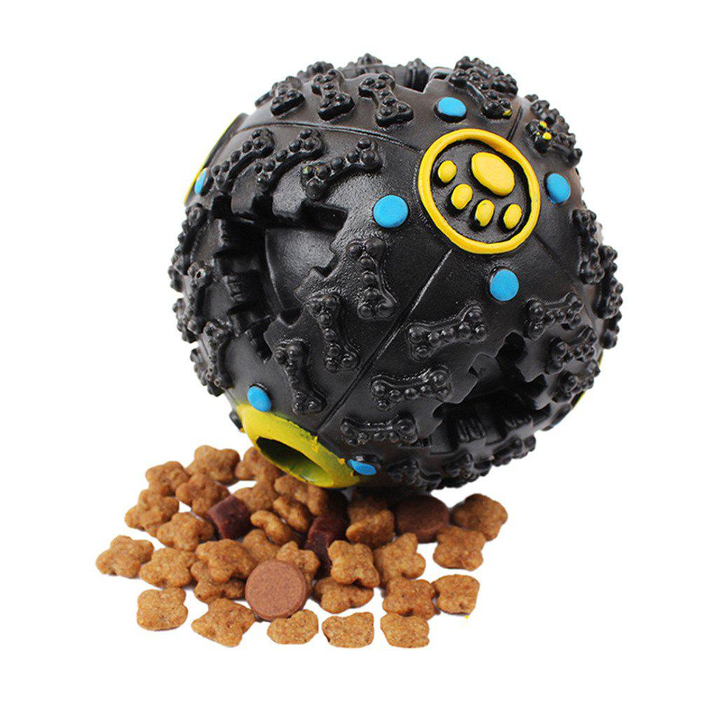 10 CM Hot Sound Leakage Food Ball Dog Toy Pet Shrieking Ball Puzzle Resistant Teeth Bite Toys - BLACK