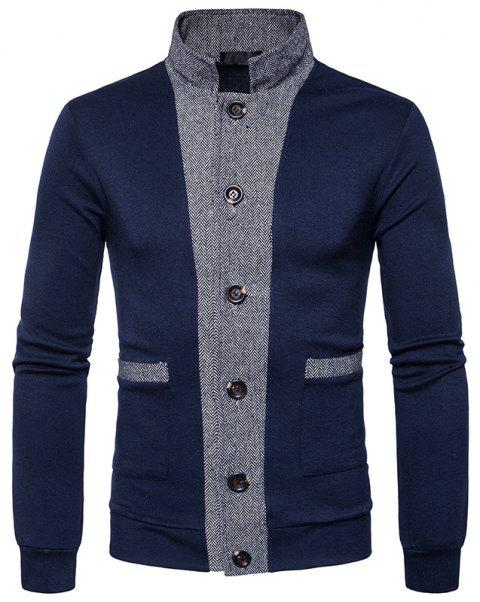 New Winter Men'S Classic Hit Color Front Cardigan Coat - CADETBLUE L