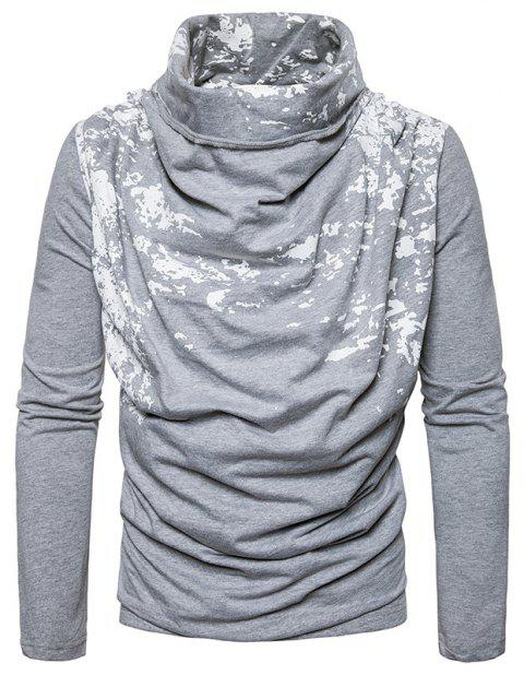Autumn and Winter New Personality Fashion Spray Paint Pile Collar Long Sleeved Man SweaterMJ20 - LIGHT GRAY M