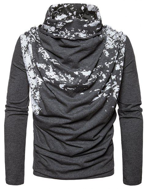 Autumn and Winter New Personality Fashion Spray Paint Pile Collar Long Sleeved Man SweaterMJ20 - DARK GRAY XL