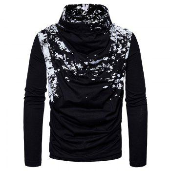 Autumn and Winter New Personality Fashion Spray Paint Pile Collar Long Sleeved Man SweaterMJ20 - BLACK BLACK
