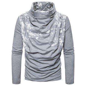 Autumn and Winter New Personality Fashion Spray Paint Pile Collar Long Sleeved Man SweaterMJ20 - LIGHT GRAY LIGHT GRAY