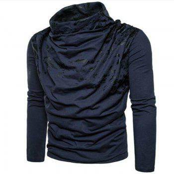 Autumn and Winter New Personality Fashion Spray Paint Pile Collar Long Sleeved Man SweaterMJ20 - CADETBLUE L