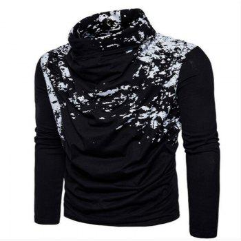 Autumn and Winter New Personality Fashion Spray Paint Pile Collar Long Sleeved Man SweaterMJ20 - BLACK L