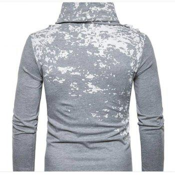 Autumn and Winter New Personality Fashion Spray Paint Pile Collar Long Sleeved Man SweaterMJ20 - LIGHT GRAY 2XL