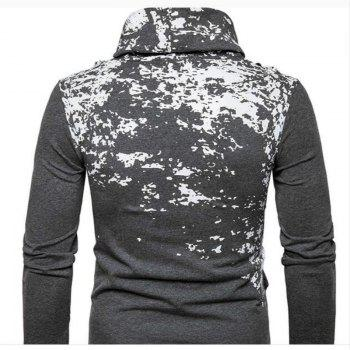 Autumn and Winter New Personality Fashion Spray Paint Pile Collar Long Sleeved Man SweaterMJ20 - DARK GRAY 2XL