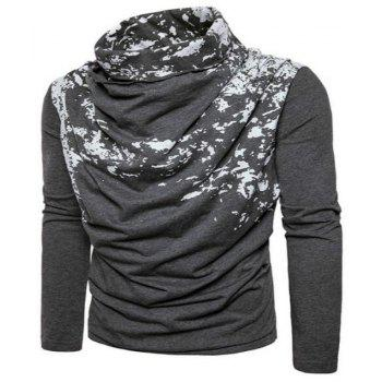 Autumn and Winter New Personality Fashion Spray Paint Pile Collar Long Sleeved Man SweaterMJ20 - DARK GRAY M
