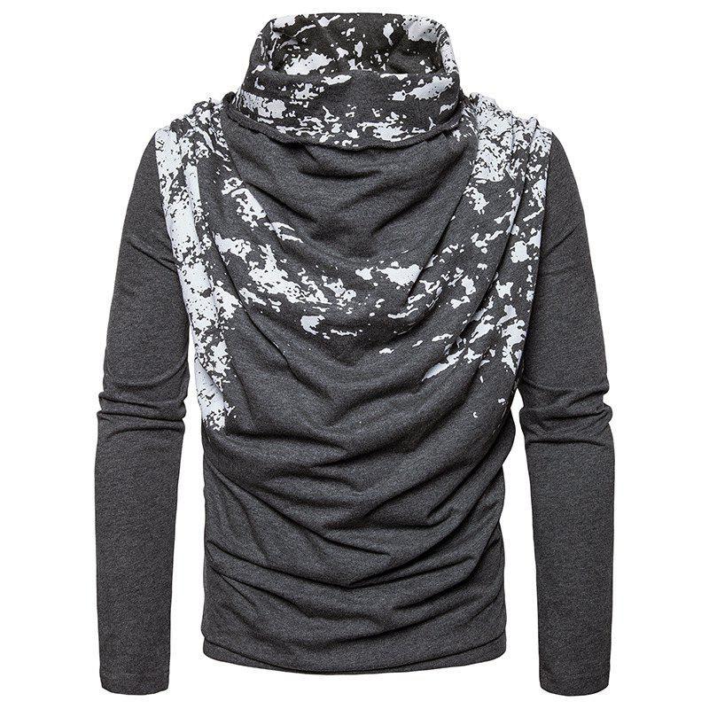 Autumn and Winter New Personality Fashion Spray Paint Pile Collar Long Sleeved Man SweaterMJ20 - DARK GRAY L