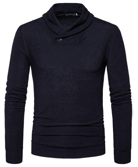 New Men'S Fashion Color Turtleneck Jacket Sweater MJ45 - BLACK L