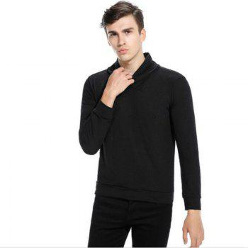 New Men'S Fashion Color Turtleneck Jacket Sweater MJ45 - BLACK S