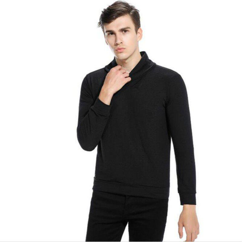 New Men'S Fashion Color Turtleneck Jacket Sweater MJ45 - BLACK 2XL