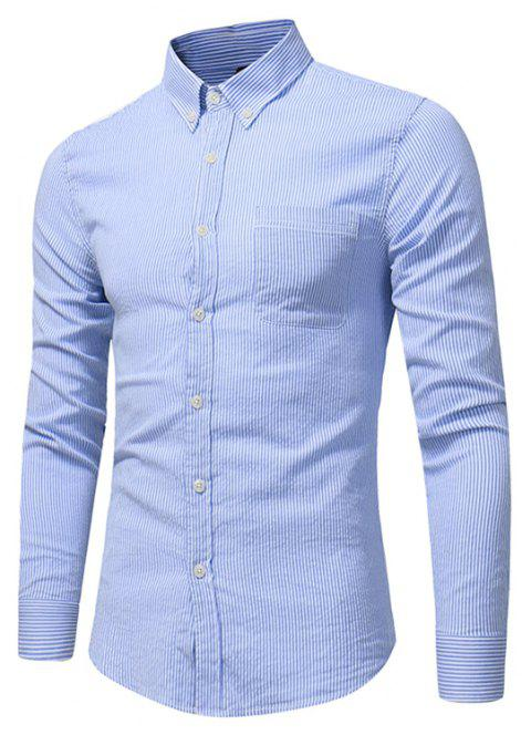 Perennial Hot Men'S Casual and Solid Color Long Sleeved Shirt C915 - DEEP BLUE L